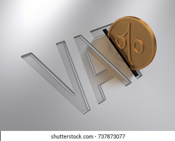 3D Illustration of Value Added Tax (VAT) idea with coin being deposited into the slot