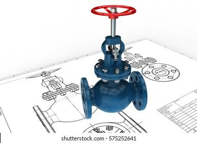3d illustration of valve drawing