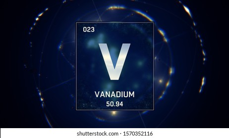 3D illustration of Vanadium as Element 23 of the Periodic Table. Blue illuminated atom design background with orbiting electrons. Design shows name, atomic weight and element number