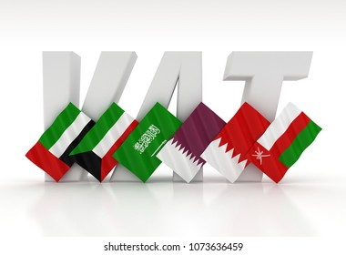 3D illustration of VAT (Value Added Tax) Text illustrated against GCC Country Flags