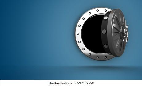 3D-Illustration der Tore auf blauem Farbverlauf-Hintergrund