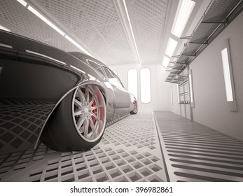 3D illustration of vehicle in camera for car painting. Render