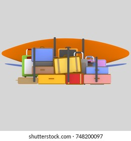 3d illustration. Vehicle luggage