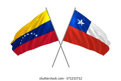 3d illustration of Venezuela and Chile crossed state flags waving