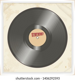 3D Illustration Of Vinyl Record Disk With Decorative Sale Text Over Grunge Vintage Background