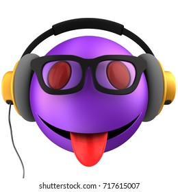 3d illustration of violet emoticon smile with yellow headphones over white background