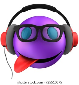 3d illustration of violet emoticon smile with red headphones over white background