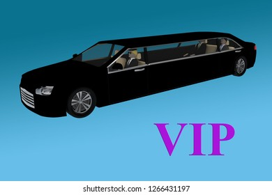 3D illustration of VIP title in front of a black limousine, with blue gradient background.