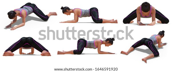 3D illustration of Virtual Woman in Yoga Frog Pose with 6 angles of view on a white background