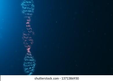 3D illustration Virus DNA molecule, structure. Concept destroyed code human genome. Damage DNA molecule. Helix consisting particle, dots. DNA destruction due to gene mutation or experiment.