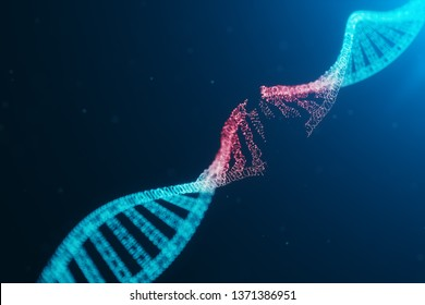 3D illustration Virus DNA molecule, structure. Concept destroyed code human genome. Damage DNA molecule. Helix consisting particle, dots. DNA destruction due to gene mutation or experiment.
