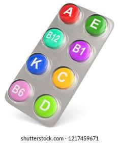 3D illustration of vitamin tablets colorful