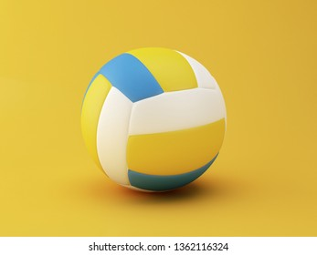 3d illustration. Volley Ball on yellow background. Sports concept.