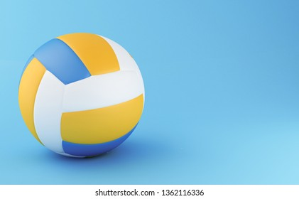 3d illustration. Volley Ball on light blue background. Sports concept.