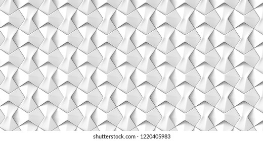 3d illustration. Volumetric three-dimensional polygons of the same size are arranged in rows. The decor of white geometric elements. Digital illustration Decorative 3d panel, element of decor.Render