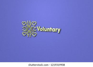 3D Illustration of Voluntary with green text on blue background
