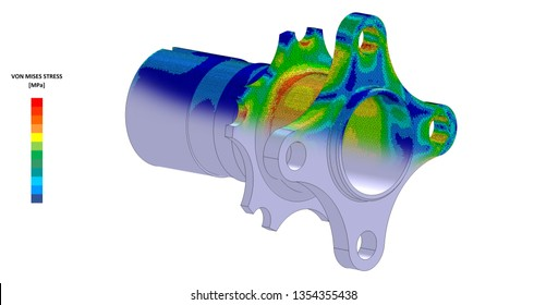 3D Illustration. Von Mises stress and CAD model blend isometric view of car suspension hub with scale