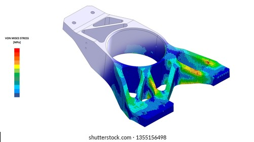 3D Illustration. Von mises stress plot and CAD model blend isometric view of a race car suspension upright with scale