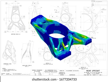 3D Illustration. Von Mises stress isometric view of car suspension upright without scale on top of engineering technical drawing