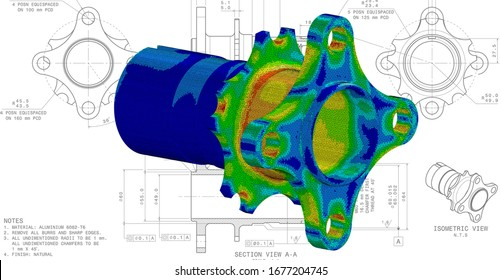 3D Illustration. Von Mises stress isometric view of car suspension hub on top of engineering technical drawing