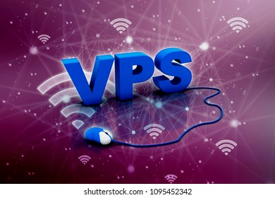 3d illustration vps connected mouse
