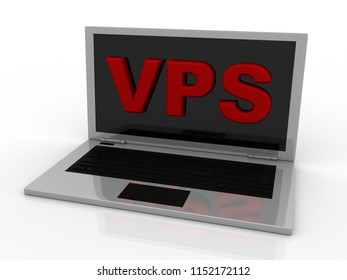 3d illustration vps on laptop