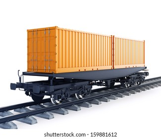 3d illustration of wagon of freight train with containers isolated on white