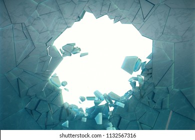 3D illustration wall of ice with a hole in the center of shatters into small pieces. Place for your banner, advertisement. The explosion caused a crack in the wall. Explosion hole in ice cracked wall.