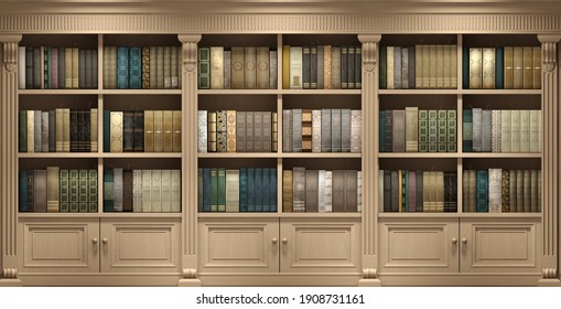 3d illustration. Wall wooden background classical library books or library study or living room, education