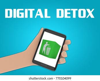 """3D illustration of waste box on the screen of a cellulr phone held by hand, isolated on blue gradient, with the script """"DIGITAL DETOX"""" on the background."""