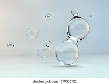 3d illustration water drops