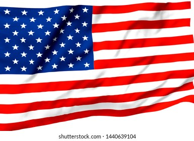 3d illustration a waving flag of The United State of America