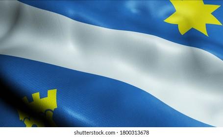 3D Illustration of a waving Holand city flag of Alphen aan den Rijn (Netherlands country)