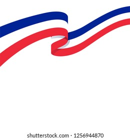 3d illustration of wavy ribbon with French national flag colors for your graphic and web design