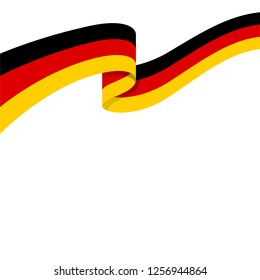 3d illustration of wavy ribbon with German national flag colors for your graphic and web design