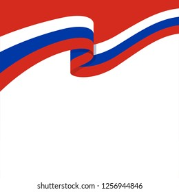 3d illustration of wavy ribbon with Russian national flag colors for your graphic and web design