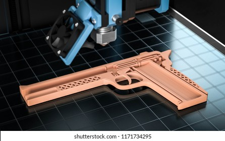 3D illustration weapon from the 3D printer