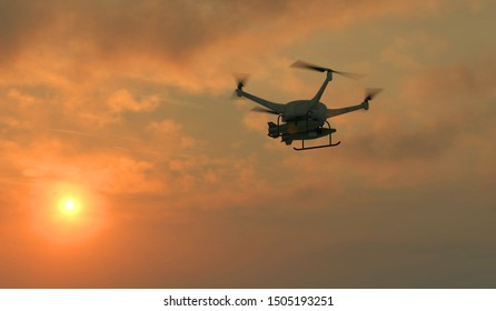 3D illustration of a weaponized UAV drone in flight. Fictitious UAV and weapons, motion blur and depth-of-field for dramatic effect.