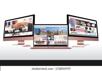 3d illustration, web browser design business website, e-commerce website, travel website, desktop computer rose gold design for ads banner on white background