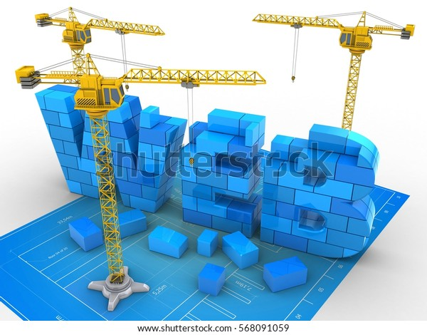 3d illustration of web sign over bluprint paper background with two cranes