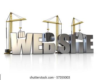 3d illustration of website sign with building cranes