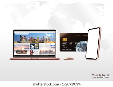 3d illustration, website travel on notebook rose gold color shopping online by app on smartphone pay by credit card design for banner. credit card on white background