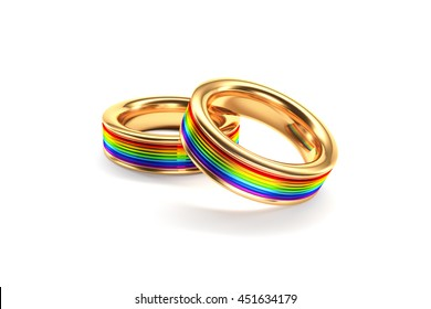 3d illustration, Wedding Rings symbolizing the same sex marriage