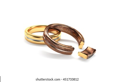 3d illustration, Wedding Rings symbolizing the divorce between two people