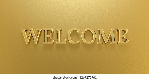 3D Illustration welcome gold text