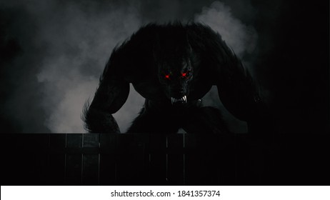 3d Illustration of a Werewolf looming over fence in black and white with red eyes glowing