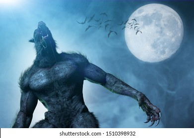 3D Illustration of a werewolf on Halloween background