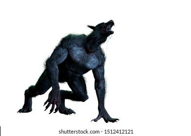 3D Illustration of a werewolf on white background