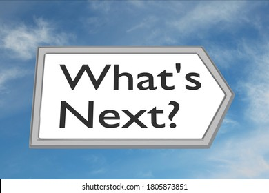 3D illustration of What's Next? script on road sign, isolated over cloudy sky as a background.