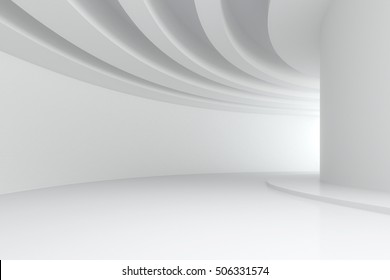 3d illustration. White abstract three-dimensional composition. Long curve corridor with circular beams on the ceiling in perspective. Architectural background, render.